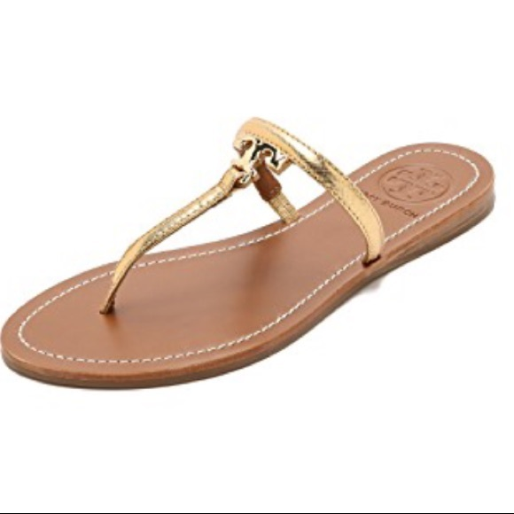 684277802a9b32 Tory Burch T Logo Gold Leather Thong Sandals. M 5b0ec361daa8f6e8fb433f44